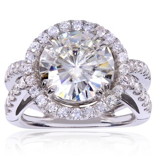 Annello 14k White Gold Round-cut Moissanite and 1 1/4ct TDW Halo Diamond Engagement Ring (H-I, I1-I2)