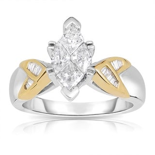 Eloquence 14k Two-tone Gold 1 1/10ct TDW Marquise Diamond Engagement Ring (H-I, I1-I2)