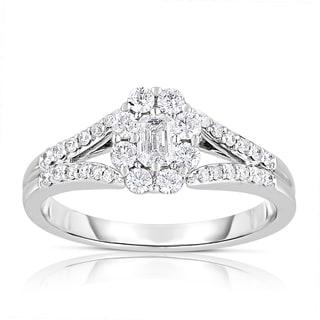 Eloquence 14k White Gold 5/8ct TDW Emerald-cut Halo Diamond Engagement Ring (H-I, I1-I2)
