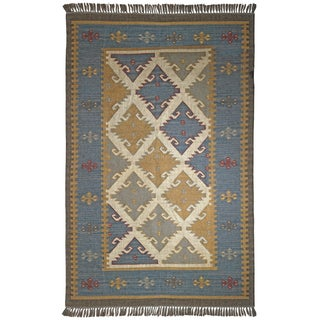 Hand-woven Royal Jute and Wool Flat Weave Rug (10'x14')
