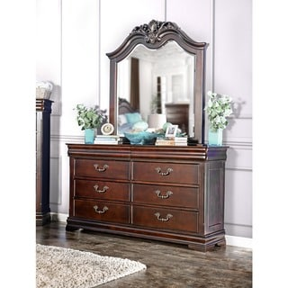 Furniture of America Bastillina English Style 2-Piece Dresser and Mirror Set
