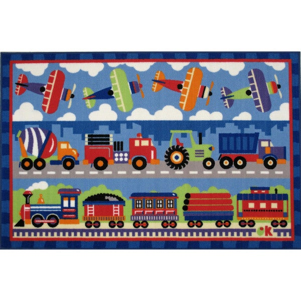 Trains, Planes and Trucks Blue Nylon Accent Area Rug (1'6 x 2'4)