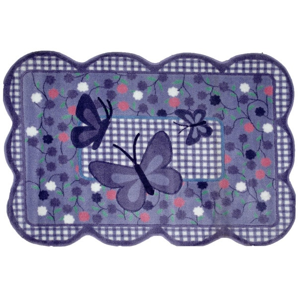Purple Butterfly Purple Nylon Area Rug (3'3 x 4'8)