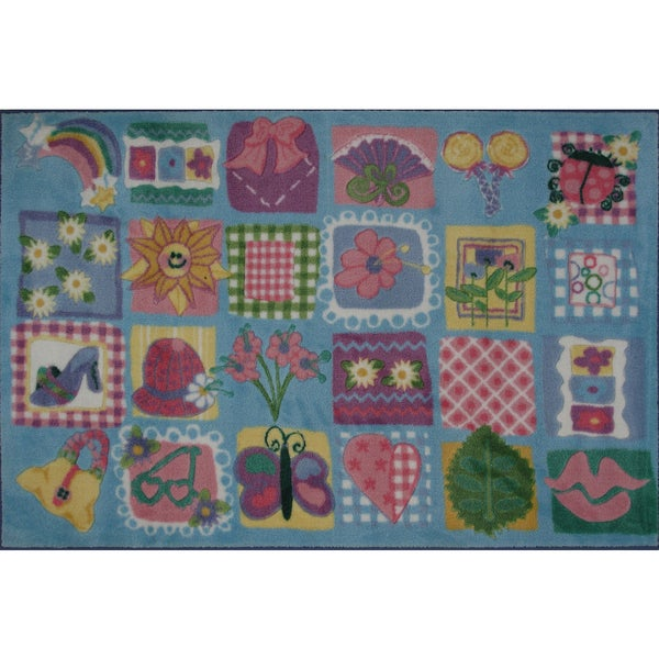 Funky Girls Quilt Blue Nylon Area Rug (3'3 x 4'8)