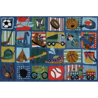 Funky Boys Quilt Multi-colored Nylon Area Rug (3'3 x 4'8)