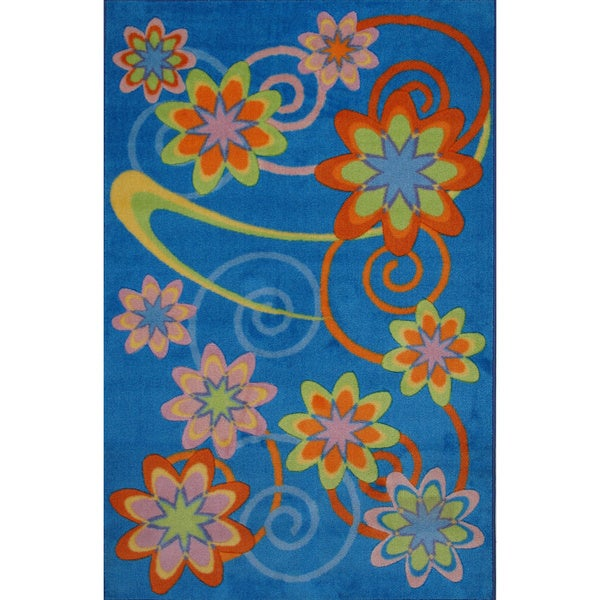 Flower Burst Blue Nylon Area Rug (3'3 x 4'8)