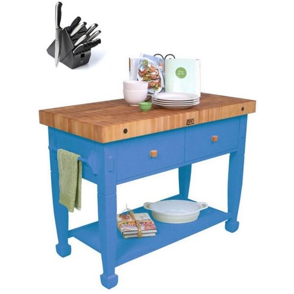John Boos 48x24 Sporty Blue Jasmine Butcher Block Table with 13 Pc Henckels Knife Set