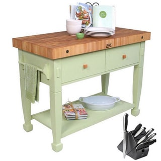 John Boos Sage Jasmine Butcher Block Table with Bonus 13-piece Henckels Knife Set