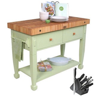John Boos Sage Jasmine Butcher Block 48 x 24 Table and Henckels 13-piece Knife Block Set