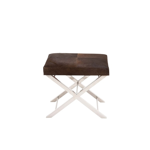 Horizon Artisan Brown Cow Hide Cross Stool