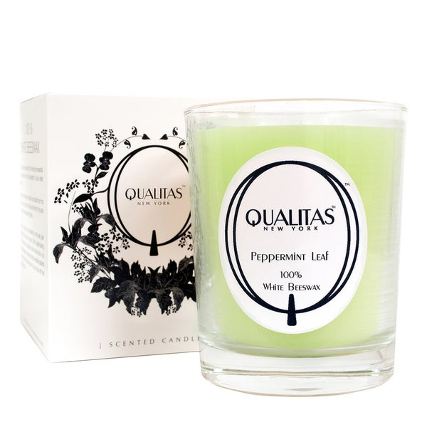 Qualitas 100-percent USP Pharmaceutical White Beeswax Peppermint Leaf Candle