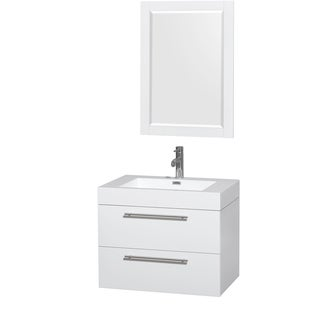 Wyndham Collection Amare 30-inch Single Vanity in Glossy White with Acrylic Resin Countertop/ Integrated Sinks