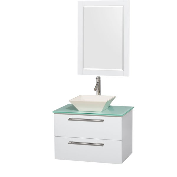 Inch Single Vanity In Glossy White Green Glass Countertop  Inch