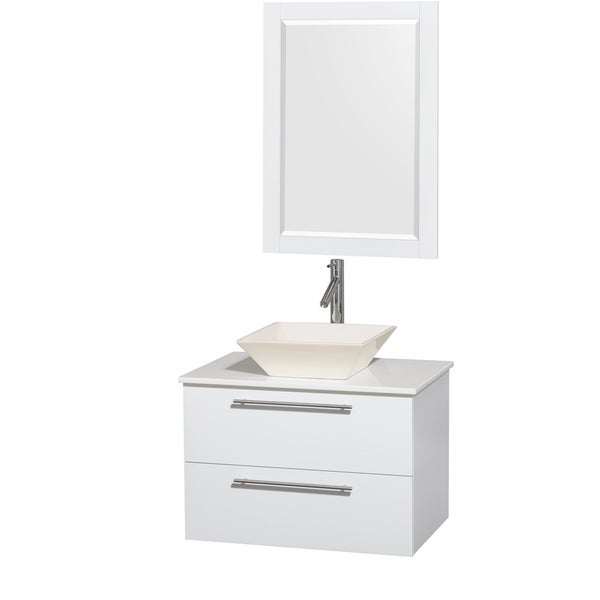 Inch Single Vanity In Glossy White White Stone Countertop  Inch