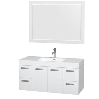 Wyndham Collection Amare 48-inch Single Vanity in Glossy White with Acrylic Resin Countertop/ Integrated Sinks