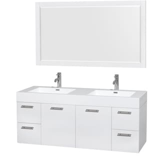 Wyndham Collection Amare 60-inch Double Vanity in Glossy White with Acrylic Resin Countertop/ Integrated Sinks