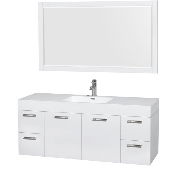 Wyndham Collection Amare  Inch Single Vanity In Glossy White With