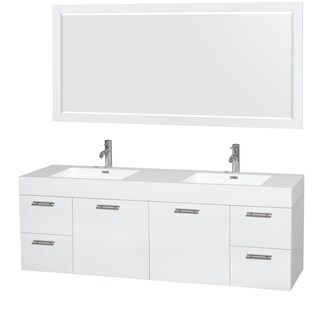Wyndham Collection Amare 72-inch Double Vanity in Glossy White with Acrylic Resin Countertop/ Integrated Sinks