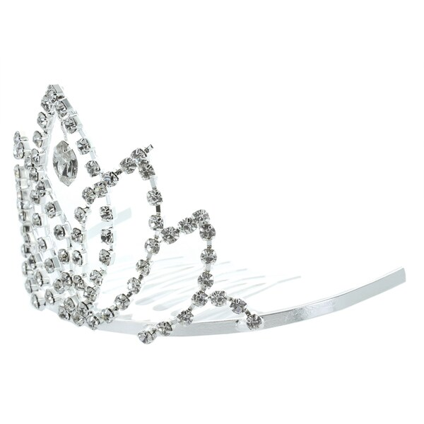 Kate Marie Bronia Rhinestone Crown Tiara Hair Pin in Silver
