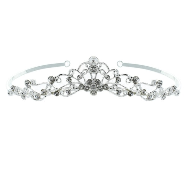 Kate Marie 'Mina' Classic Rhinestones Crown Tiara with Hair Combs in Silver
