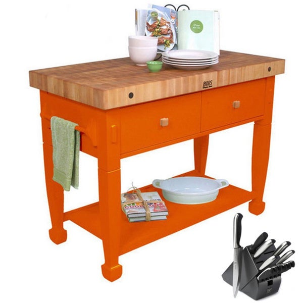 John Boos Tangerine Jasmine Butcher Block Table with Bonus 13-piece Henckels Knife Set
