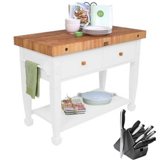 John Boos Alabaster Jasmine Butcher Block Table with Bonus 13-piece Henckels Knife Set