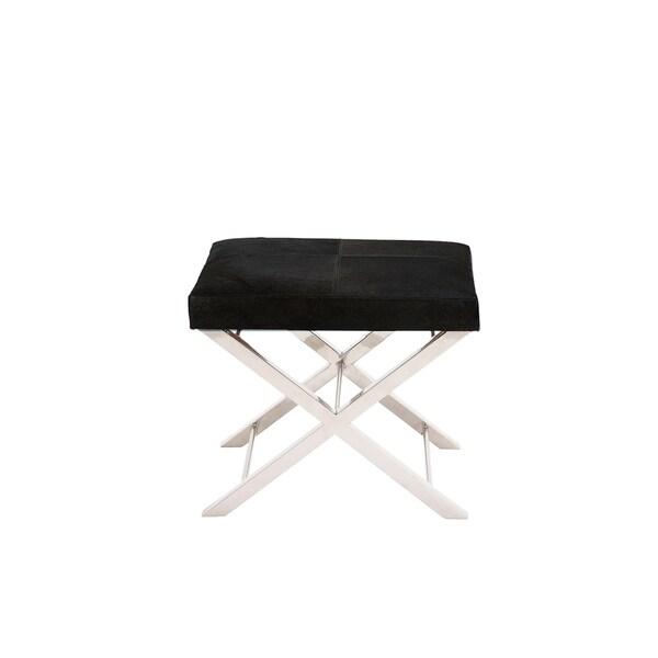 Artisan Stainless Steel Black Cowhide Cross Bench