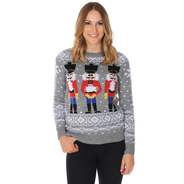 Womens Grey 'Nutcracker' Ugly Christmas Sweater