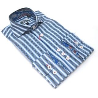 Bogosse Men's Blue Paisley and Stripes Long Sleeve Button Down Shirt