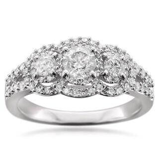 14k White Gold 1ct TDW Diamond 3-stone Halo Engagement Ring (H-I, SI1-SI2)