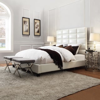 INSPIRE Q Tower Whte Bonded Leather High Profile Upholstered Platform Bed