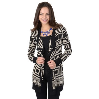 Hailey Jeans Co. Junior's Long Sleeve Tribal Print Fitted Knit Cardigan