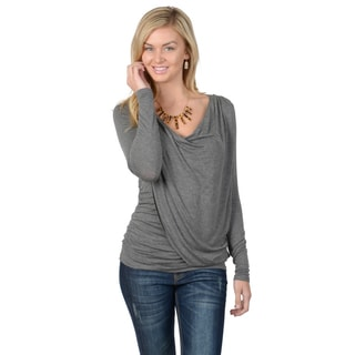 Journee Collection Women's Long Sleeve Fitted Ruched Cowl Neck Top