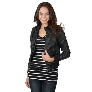 Journee Collection Juniors Lined Faux Leather Jacket