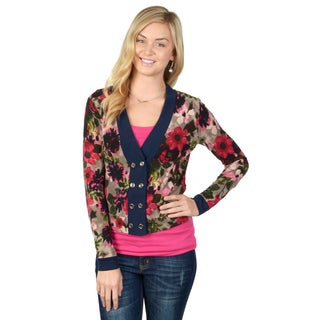 Hailey Jeans Co. Junior's Floral Print Button-up Cardigan