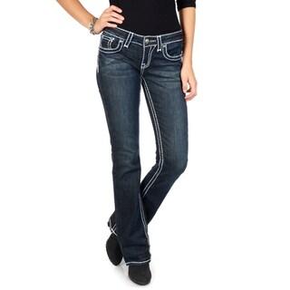 L.A. Idol Junior's Contrast Stitching Dark Wash Boot Cut Jeans