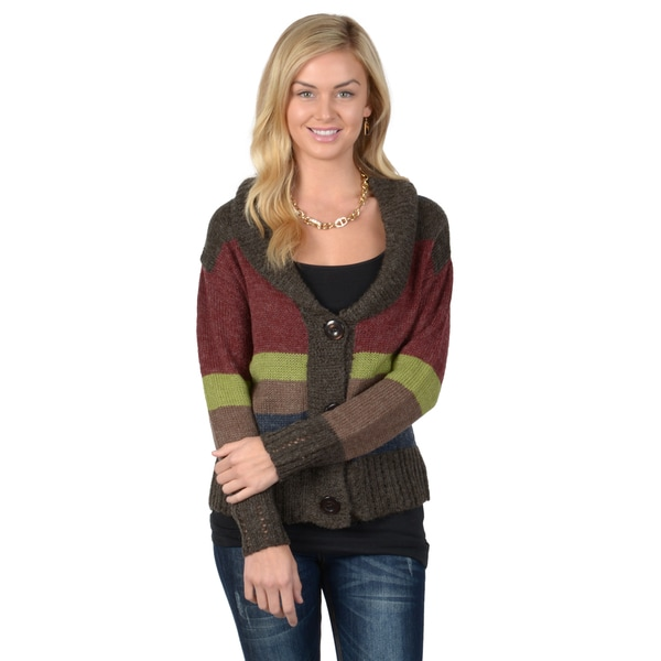 Journee Collection Women's Striped Button-up Knit Sweater