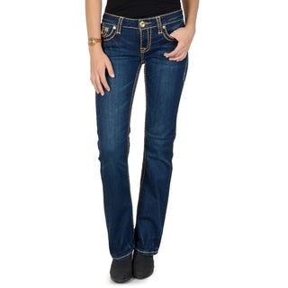 L.A. Idol Junior's Contrast Stitching Embellished Boot Cut Jeans