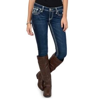 L.A. Idol Junior's Contrast Stitching Embellished Dark Wash Skinny Jeans