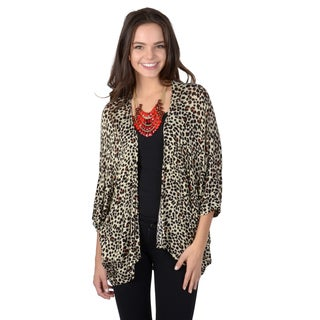 Hailey Jeans Co. Junior's Open Front Dolman Sleeve Leopard Print Cardigan