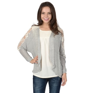 Hailey Jeans Co. Junior's Crochet Detail Dolman Long Sleeve Open Front Cardigan