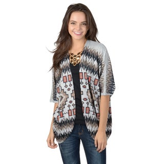 Hailey Jeans Co. Junior's Open Front Dolman Sleeve Tribal Print Cardigan