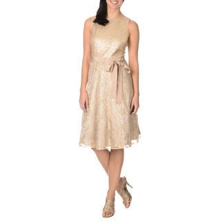 S.L. Fashions Women's Gold Sequin and Lace Party Dress