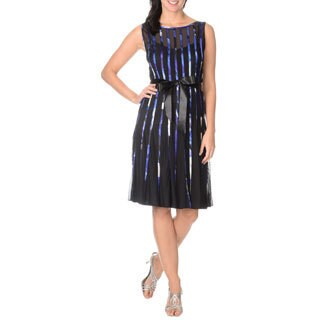 S.L. Fashions Women's Multicolored Satin Strapping Dress