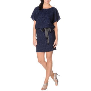 S.L. Fashions Women's Navy Glitter-knit Popover Dress