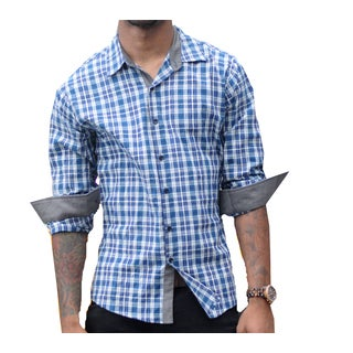 Something Strong, Men's, Blue, Plaid, Cotton, Shirt