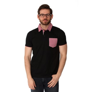 Filthy Etiquette Men's Black and Gingham Solid Polo