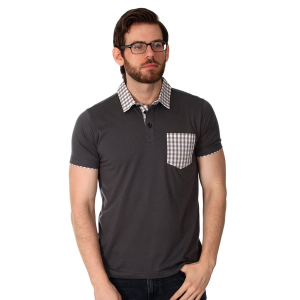 Filthy Etiquette Men's Charcoal and Gingham Solid Polo