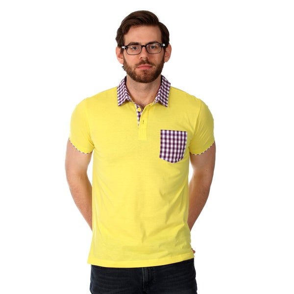Filthy Etiquette Men's Solid Yellow Polo with Gingham Trim