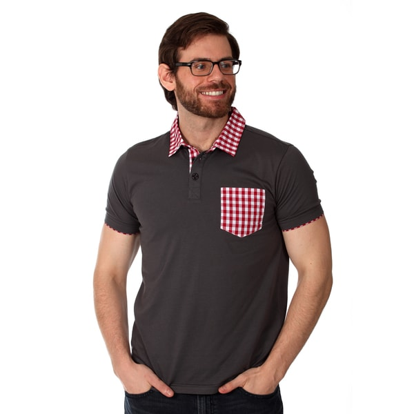 Filthy Etiquette Men's Charcoal/ Red Gingham Solid Polo